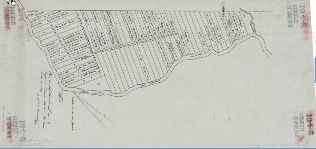 """Plan of the """"fief"""" Bourchemin-East, in the Seignory of Barrow (St-Hughes), divided in lots during the summer of 1822."""