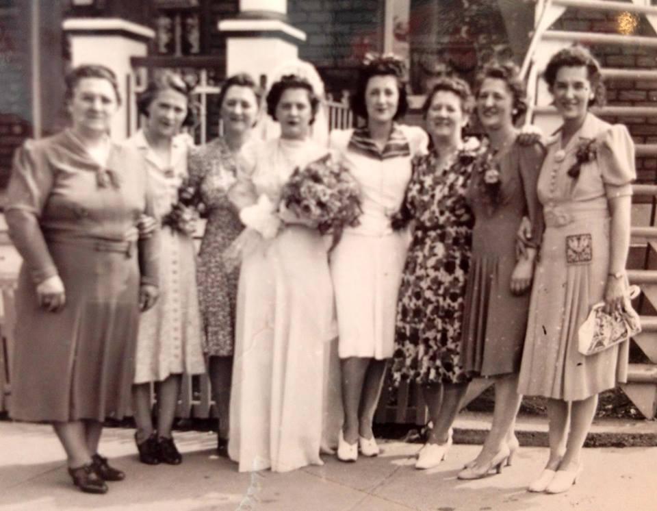 From left to righ, Evelina, Marguerite, Aline, Pauline, Madeleine, Yolande, Cécile, Agnès, Henriette. - Sarah Di Lallo collection