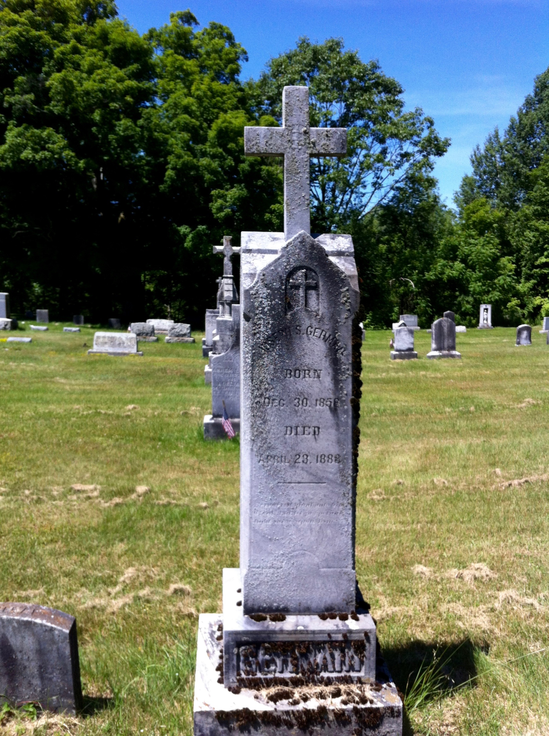Tombstone of Joseph S. Germain, St. Marys Cemetery, Brandon, Vermont [From Diane Tourville's collection]