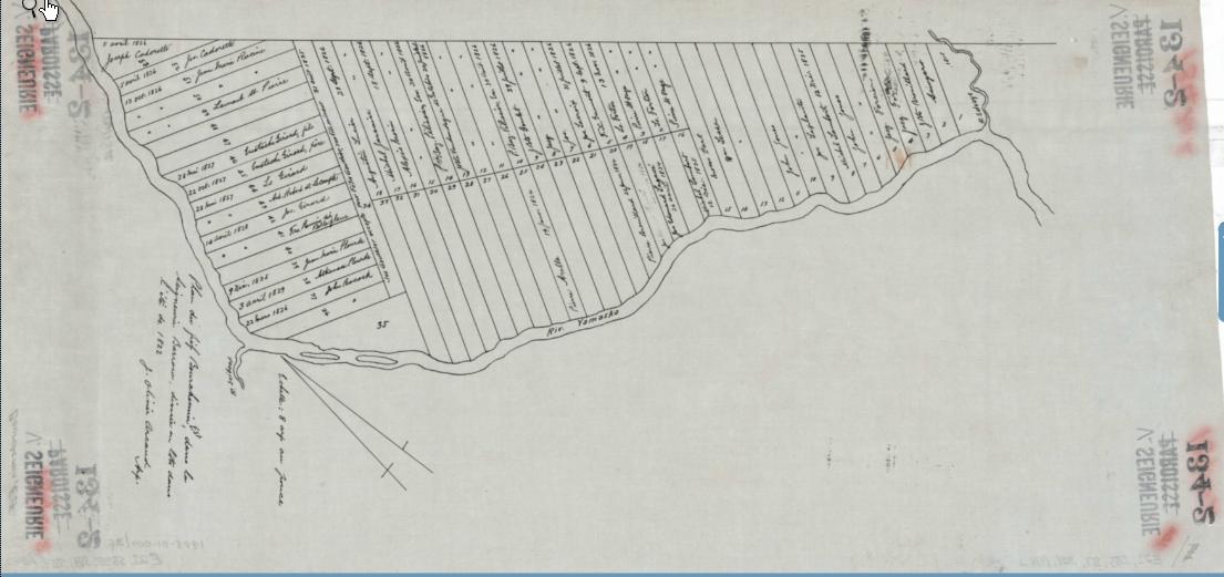 Plan du fief Bourchemin-Est, dans la seigneurie de Barrow (St-Hughes aujourd'hui), divisé en lots à l'été de 1822