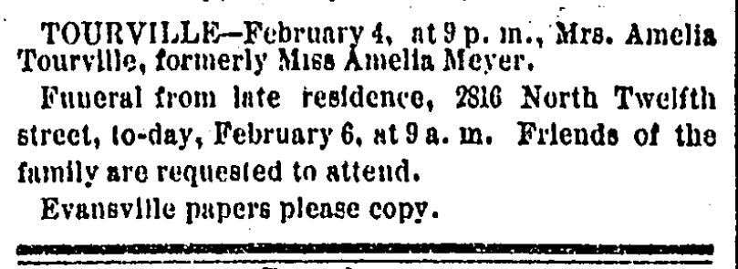 Tourville Amelia st louis daily globe-democrat 6 feb 1882