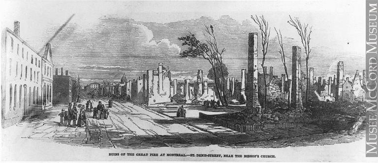 Photograph | Ruins of the Great Fire, St. Denis Street, Montreal, QC, engraving, 1852, copied ca.1910 | MP-0000.864.5 | McCord Museum, Montréal.
