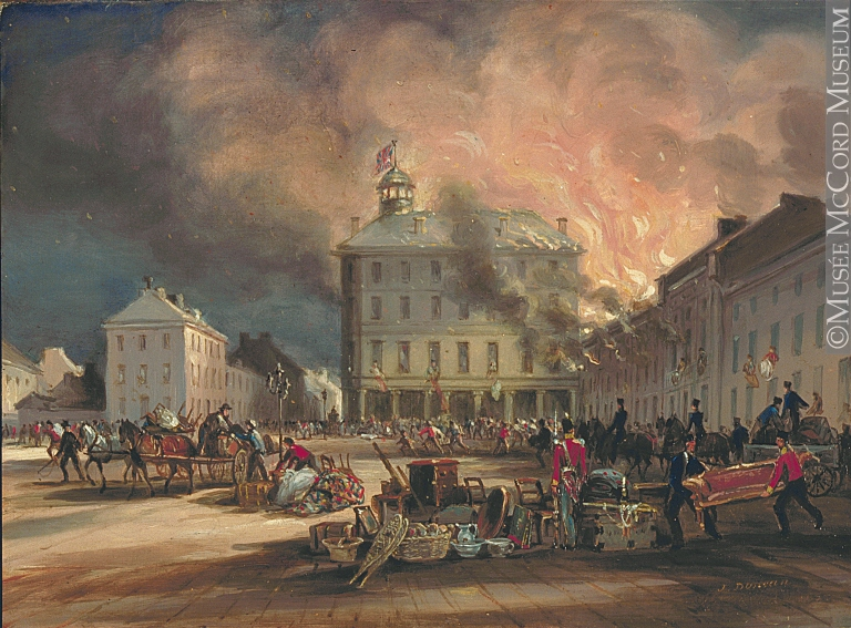 Painting | Burning of Hayes House, Dalhousie Square, Montreal. | M310 | McCord Museum, Montréal.